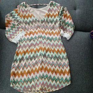 Speechless Dresses - Sheer material zig zag multicolor dress
